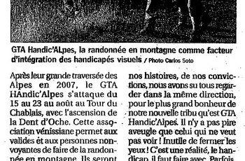 Article de presse : le GTA Handic'Alpes au tour du Chablais
