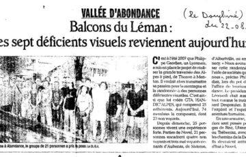 Article de presse : Balcons du Léman, les sept déficients visuels reviennent aujourd'hui