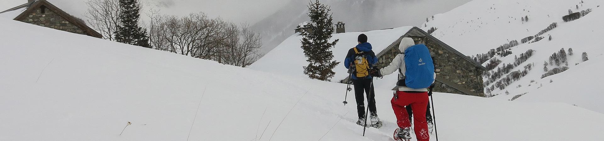 Sortie raquettes organisée par l'association GTA Handic'Alpes avec des personnes déficientes visuelles